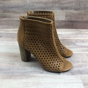 Report Open Toe Tan Cutout Booties Boots